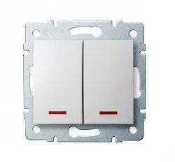 Łącznik dwugrupowy świecznikowy z LED LOGI 02-1120-102 bi 25079