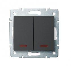 Łącznik dwugrupowy świecznikowy z LED LOGI 02-1120-141 gr 25257