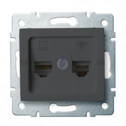 Gniazdo komputerowo-telefoniczne (RJ45 Cat 5e+RJ11) LOGI 02-1430-041 gr 25289