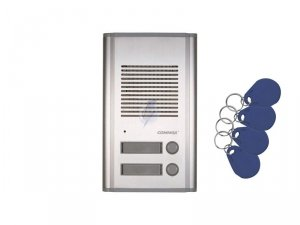 DR-201AG/RFID montaż podtykowy lub natynkowy - w osłonie OS-201N, wbudowany czytnik kart/breloków - 4 breloki w zestawie + karta
