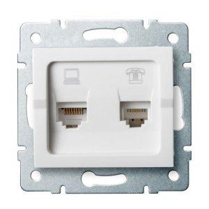 Gniazdo komputerowo-telefoniczne (RJ45 Cat 6+RJ11) LOGI 02-1440-002 bi 25113