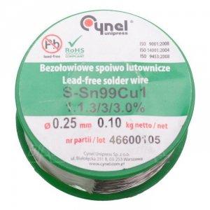Cyna-spoiwo SN99C 0.25/0.1 Sn99Cu1 0.25mm/0.1kg Cynel