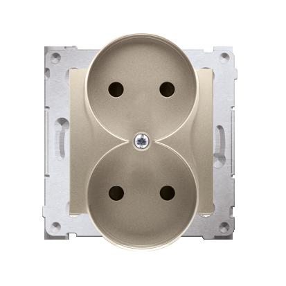 Gniazdo wtyczkowe podwójne bez uziemienia z przesłonami torów prądowych do ramek Nature (moduł) 16A 250V, zaciski śrubowe, złoty