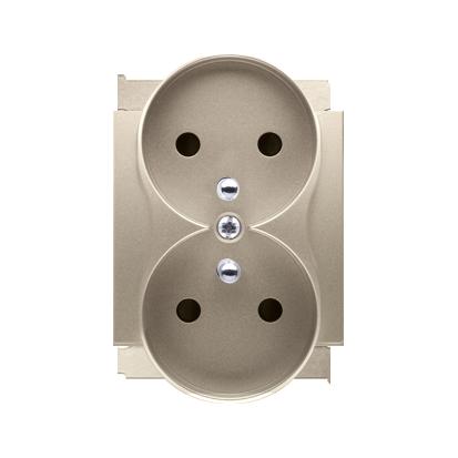 Pokrywa do gniazda wtyczkowego podwójnego z uziemieniem - do ramek PREMIUM złoty mat, metalizowany