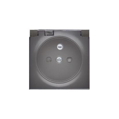 Pokrywa do gniazda wtyczkowego z uziemieniem - do wersji IP44- klapka w kolorze transparentnym antracyt, metalizowany