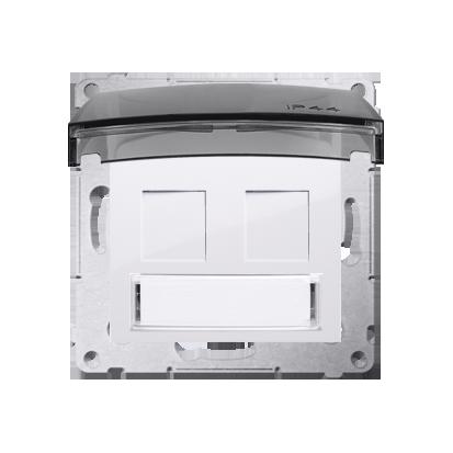 Pokrywa IP44 dla gniazd teleinformatycznych na Keystone płaska podwójna z polem opisowym biały
