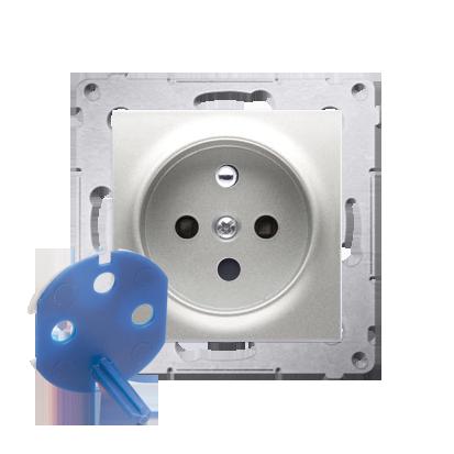 Gniazdo wtyczkowe pojedyncze DATA z kluczem uprawniającym do ramek Nature do ramek Premium (moduł) 16A 250V, zaciski śrubowe, sr