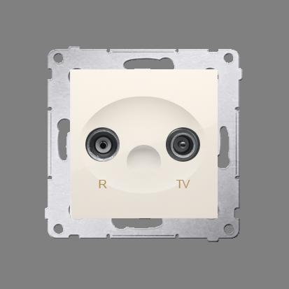 Gniazdo antenowe R-TV końcowe separowane tłum.:1dB kremowy