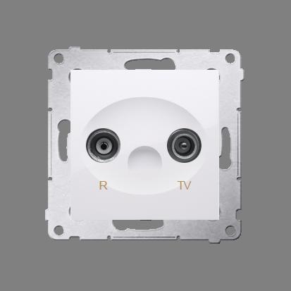 Gniazdo antenowe R-TV przelotowe tłum.:10dB biały