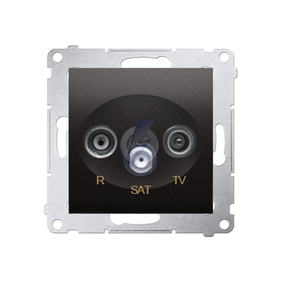 Gniazdo antenowe R-TV-SAT przelotowe tłum.:10dB antracyt, metalizowany