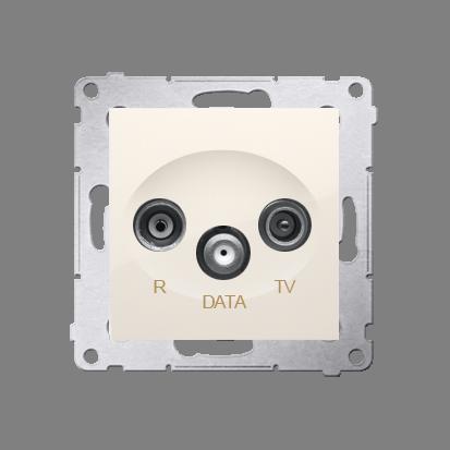 Gniazdo antenowe R-TV-DATA tłum.:10dB kremowy