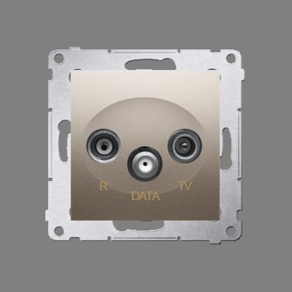 Gniazdo antenowe R-TV-DATA tłum.:10dB złoty mat, metalizowany