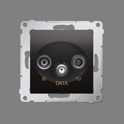 Gniazdo antenowe R-TV-DATA tłum.:10dB antracyt, metalizowany