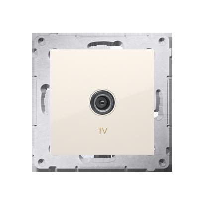 Gniazdo antenowe TV pojedyncze końcowe kremowy