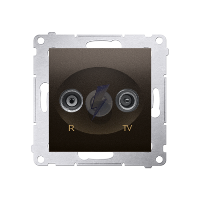 Gniazdo antenowe R-TV zakończeniowe do gniazd przelotowych tłum.:10dB brąz mat, metalizowany