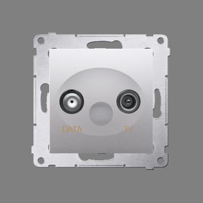 Gniazdo antenowe TV-DATA tłum.:5dB srebrny mat, metalizowany