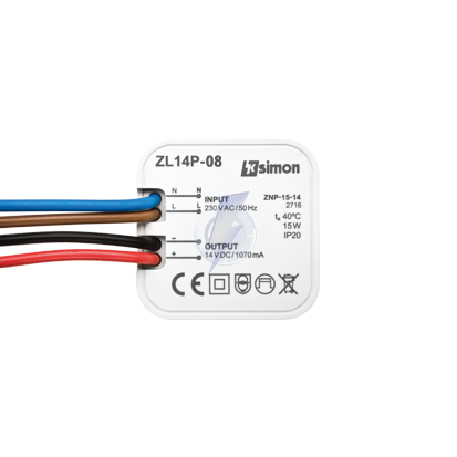 Zasilacz LED dopuszkowy 14V, DC, 15W.