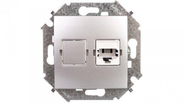 Simon 15 Gniazdo telefoniczne pojedyncze RJ11 aluminium met. 1591480-026