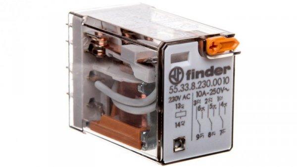 Przekaźnik miniaturowy 3P 10A 230V AC przycisk testujący AgNi 55.33.8.230.0010