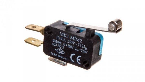 Wyłącznik krańcowy miniaturowy 1CO dźwignia długa z metalową rolką T0-MK1MIM2