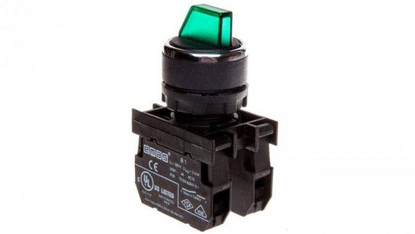 Przycisk pokrętny 3 położeniowy 1Z 1R niestabilny podświetlany 100-250V zielony T0-B102SL32Y