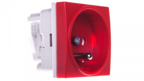 Systo Gniazdo pojedyncze z/u 16A DATA 2 moduły czerwony WS106