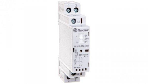 Stycznik modułowy 2Z 25A 24V AC/DC funkcja Auto-On-Off wskaźnik zadziałaniua + LED 17,5mm 22.32.0.024.4340