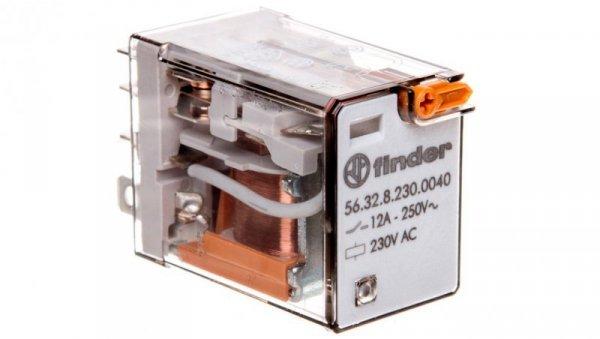 Przekaźnik 2P 12A 230V AC przycisk testujący, mechaniczny wskaźnik zadziałania 56.32.8.230.0040
