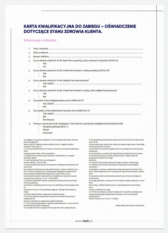 Karta kwalifikacyjna do zabiegu - oświadczenie dotyczące stanu zdrowia klientki