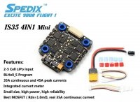 Regulator 4in1Spedix IS35 35A Blheli_S 2-5S 4 IN 1 Brushless ESC 20x20mm regulator do dronów wyścigowych