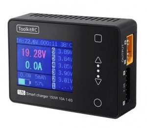 Zaawansowana Ładowarka procesorowa Toolkitrc m6 10A 150W 1-6S najmniejsza na rynku.  Dodatkowe funkcje multitester Baterii, PWM, PPM , SBUS praca jako zasilacz i ładowarka USB