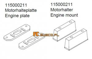Engine mount & engine pate - Ansmann Virus