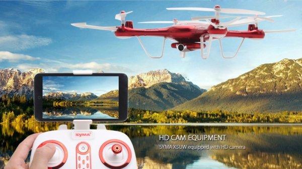 Syma X5UW - czerwony - (kamera WiFi FPV 1MP, 2.4GHz, funkcja zawisu, zasięg do 70m, planowanie trasy)