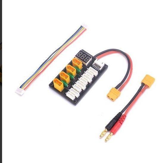 Adapter do ładowarki - równoległe ładowanie do 4 akumulatorów - XT60 - wyświetlacz