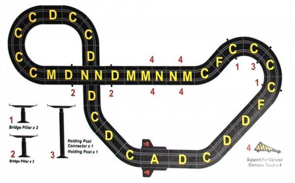 Joysway Zestaw Slot Cars Superior 504 1:43 - 530cm, 2 mosty, skok, ściana, 240V