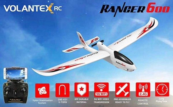 Elektroszybowiec RC Ranger 600 - 600mm FPV 5G WIFI Pchający silnik, żyroskop 761-2 RTF