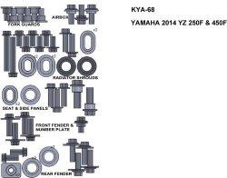 ZESTAW ŚRUB KEITI DO YAMAHA 2014 YZ 250F & 450F