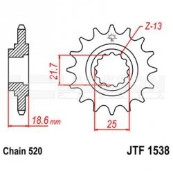 Zębatka przednia JT F1538-15, 15Z, rozmiar 520 2201056 Kawasaki Z 750