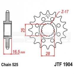 Zębatka przednia JT F1904-17, 17Z, rozmiar 525 2201017 KTM Adventure 990