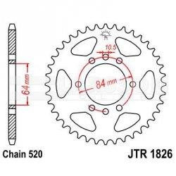 Zębatka tylna stalowa JT 1826-40, 40Z, rozmiar 520 2302046 Kawasaki KFX 400