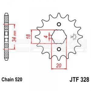 Zębatka przednia JT F328-13, 13Z, rozmiar 520 2200273 Honda XR 250