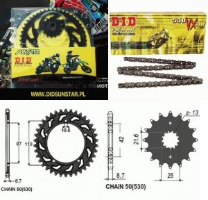 ZESTAW NAPĘDOWY DID50VX ZĘBATKI SUNSTAR BANDIT 600 / 650 ZESTAW-BANDIT