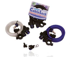 Oxford linka antykradzieżowa Cable Lock 60 cm, kolor czarny, niebieski, przeźroczysty