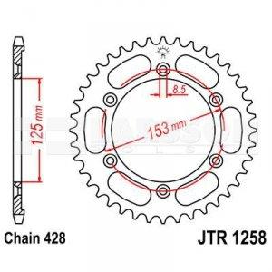 Zębatka tylna stalowa JT 1258-54, 54Z, rozmiar 428 2301935 Honda XR 125