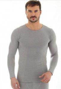 Brubeck LS11600 Koszulka męska z długim rękawem COMFORT WOOL jasnoszary