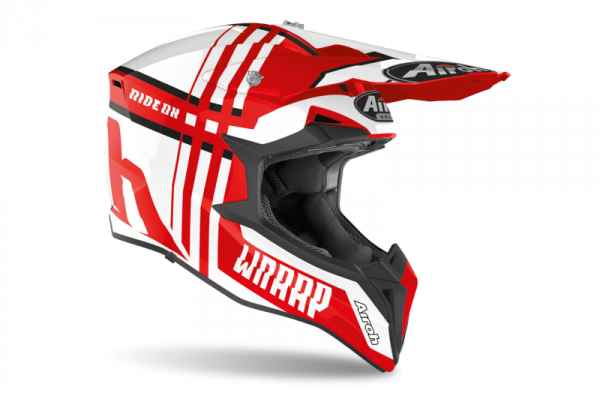 AIROH KASK OFF-ROAD WRAAP BROKEN RED GLOSS
