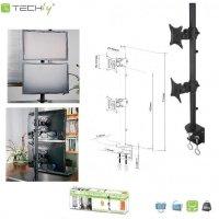 Uchwyt biurkowy Techly LCD/LED 13-27 na 2 monitory, czarny