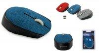 Mysz bezprzewodowa VAKOSS TM-662B TEKSTYLNA optyczna 3 przyciski, 1000dpi niebieska