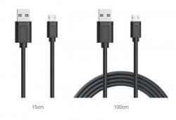 UNITEK C4050BK Unitek kabel 2w1 microUSB-USB, 1m + 15cm, czarny, C4050BK