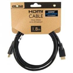 4World Kabel HDMI - HDMI, High Speed z Ethernet (v1.4), 3D, HQ, BLK, 1.8m